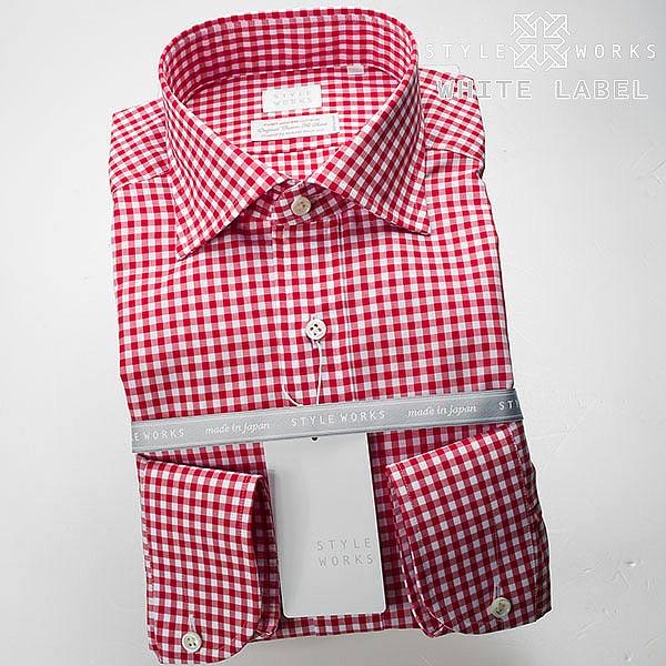 <White Label~ホワイトレーベル~>オリジナルドレスシャツ 長袖 ワイドカラー  レッドギンガムチェックメンズ fs3gm