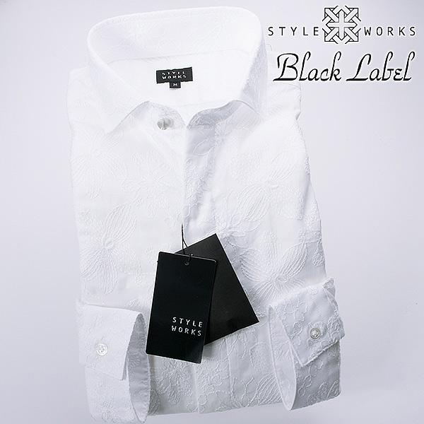 フラワーレース ホワイト長袖ドレスシャツ カッタウェイワイドカラー 比翼前立 国産綿100メンズ fs3gm