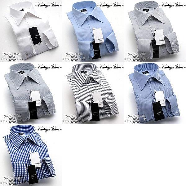 国産オリジナルドレスシャツ ワイシャツ シャツ メンズ Vintage Line コンフォート 長袖 柄選択有 GIZA88生地使用 セミワイドカラー