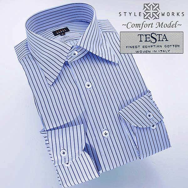 ドレスシャツ ワイシャツ シャツ メンズ 国産 長袖オリジナルコンフォート TESTAファブリック使用 レギュラーカラー スカイ&ネイビーストライプ 1402