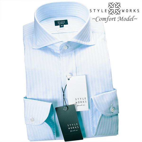 国産ドレスシャツ Vintage Line コンフォート 長袖 GIZA88 ホワイト ライトブルーダブルストライプカッタウェイメンズ fs3gm