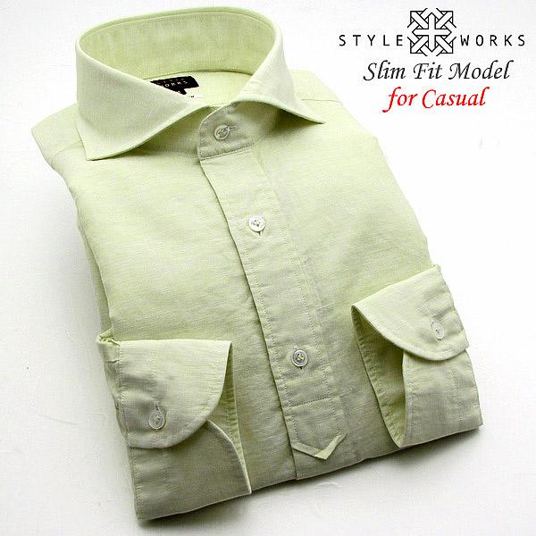 ebda46ea5022 STYLE WORKS: Linen cotton hemp cotton original long sleeves casual shirt  half placket light green cutaway wide color men | Rakuten Global Market