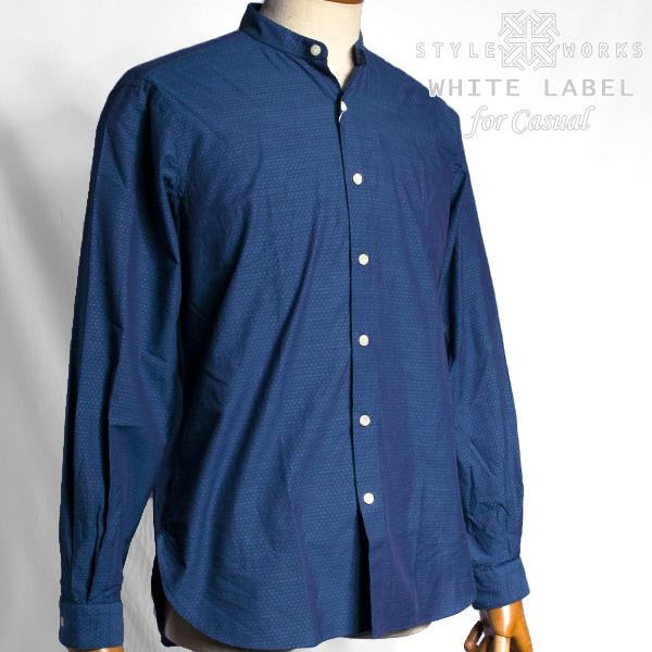 国産 綿100%長袖ホワイトカジュアルシャツ バンドカラー コンフォート インディゴ風シャンブレードビーミニドット 1604