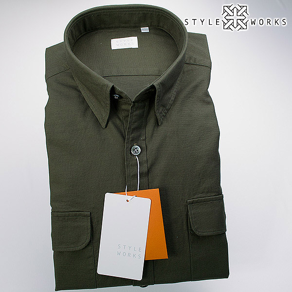 国産 綿100% 長袖カジュアルシャツ メッシュ調からみ織生地 カーキー スナップダウン 両胸フラップポケット 1607