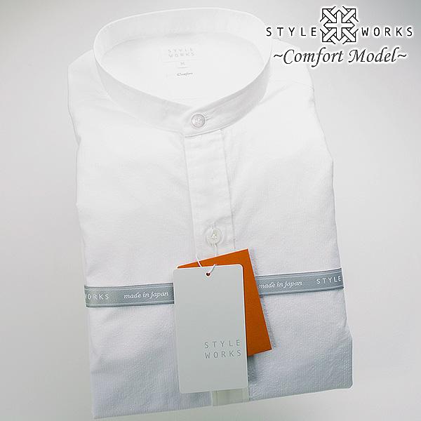 国産 綿100% 長袖カジュアルシャツ 洗い加工 クレリックバンドカラー ホワイトミニサッカーストライプ 1607