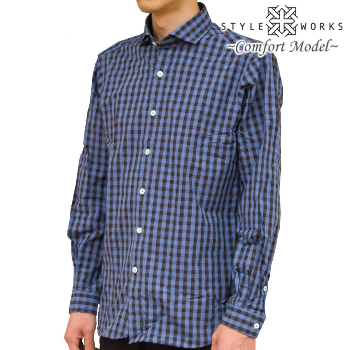 国産 綿100% 長袖カジュアルシャツ ショートワイド コンフォート GIZA88 ブロックチェック ブルー 1803