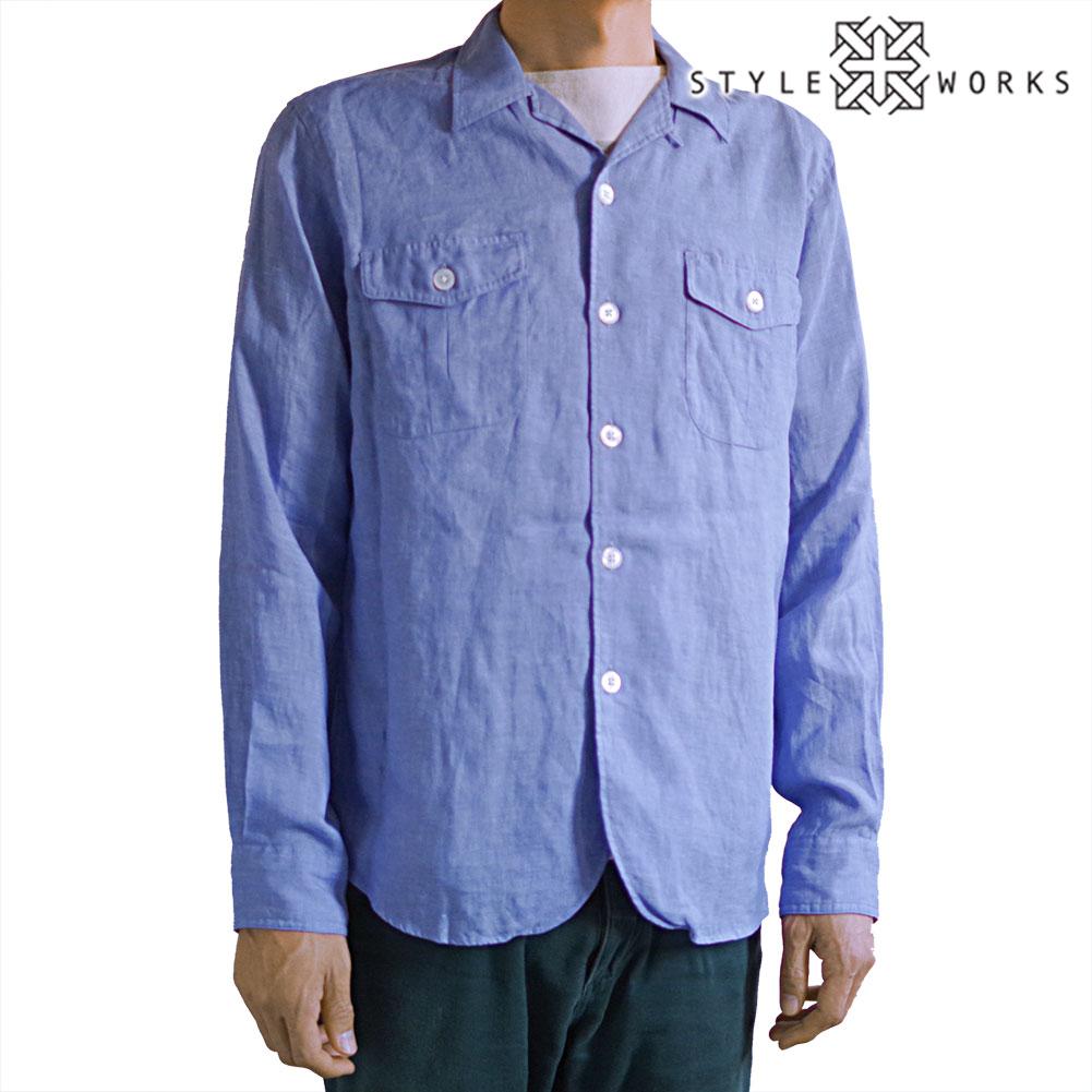 国産麻100シャツジャケット サファリシャツブルゾン アルビニリネン サックスブルー 開襟 オープンカラー 1803