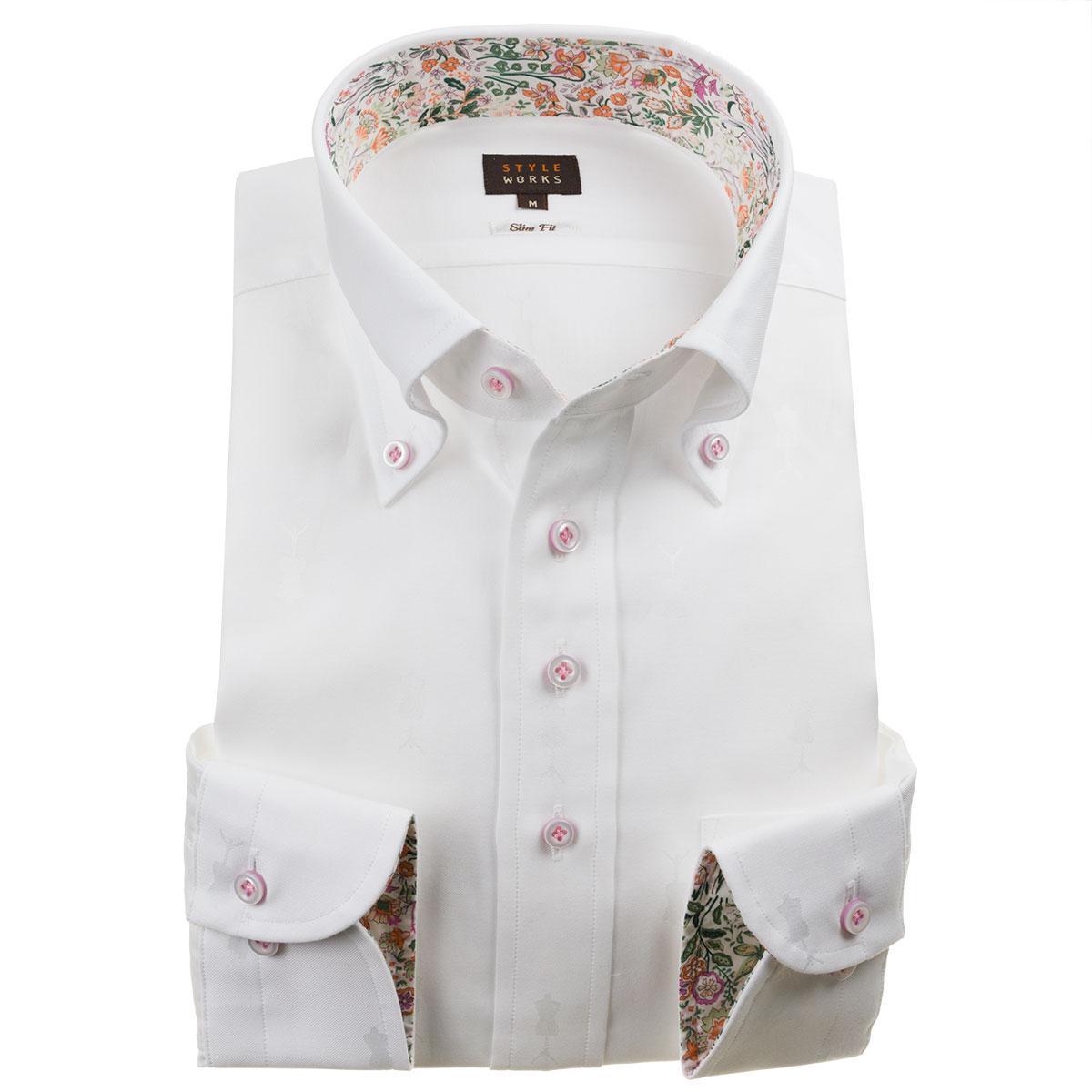 ドレスシャツ ワイシャツ シャツ メンズ 国産 長袖 綿100% スリムフィット ボタンダウン ホワイト 【Sサイズ・裄丈81cm】