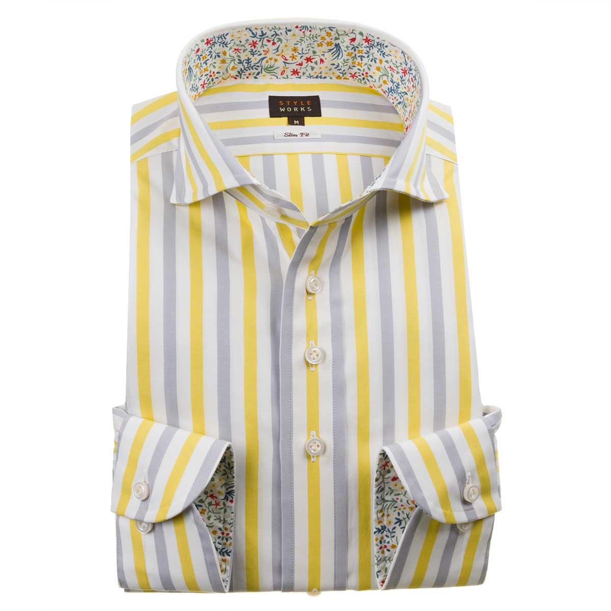 ドレスシャツ ワイシャツ シャツ メンズ 国産 長袖 綿100% スリムフィット カッタウェイワイド イエロー グレー オルタネイトボールドストライプ 1911【Sサイズ・裄丈81cm】