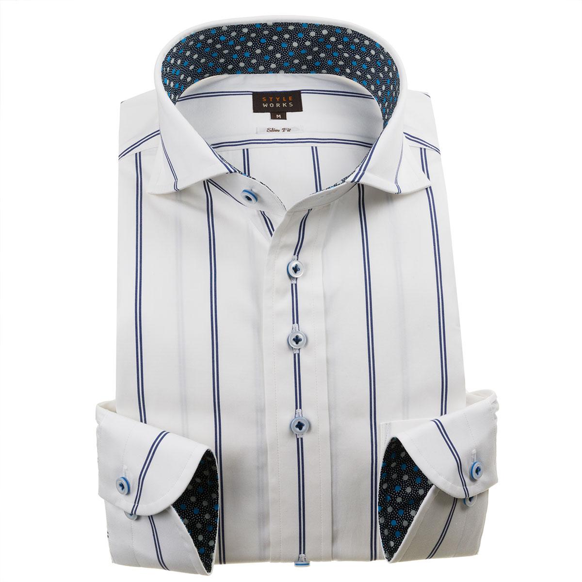 ドレスシャツ ワイシャツ シャツ メンズ 国産 長袖 綿100% スリムフィット カッタウェイワイド ダブルストライプ ホワイト ネイビー【Sサイズ・裄丈81cm】