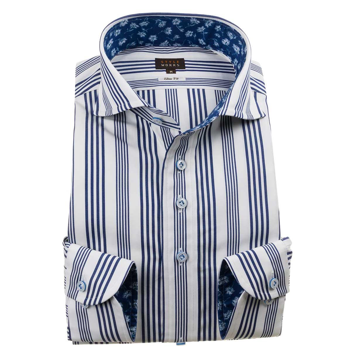 ドレスシャツ ワイシャツ シャツ メンズ 国産 長袖 綿100% スリムフィット カッタウェイワイド ホワイト ネイビー オルタネイトストライプ【Sサイズ・裄丈81cm】