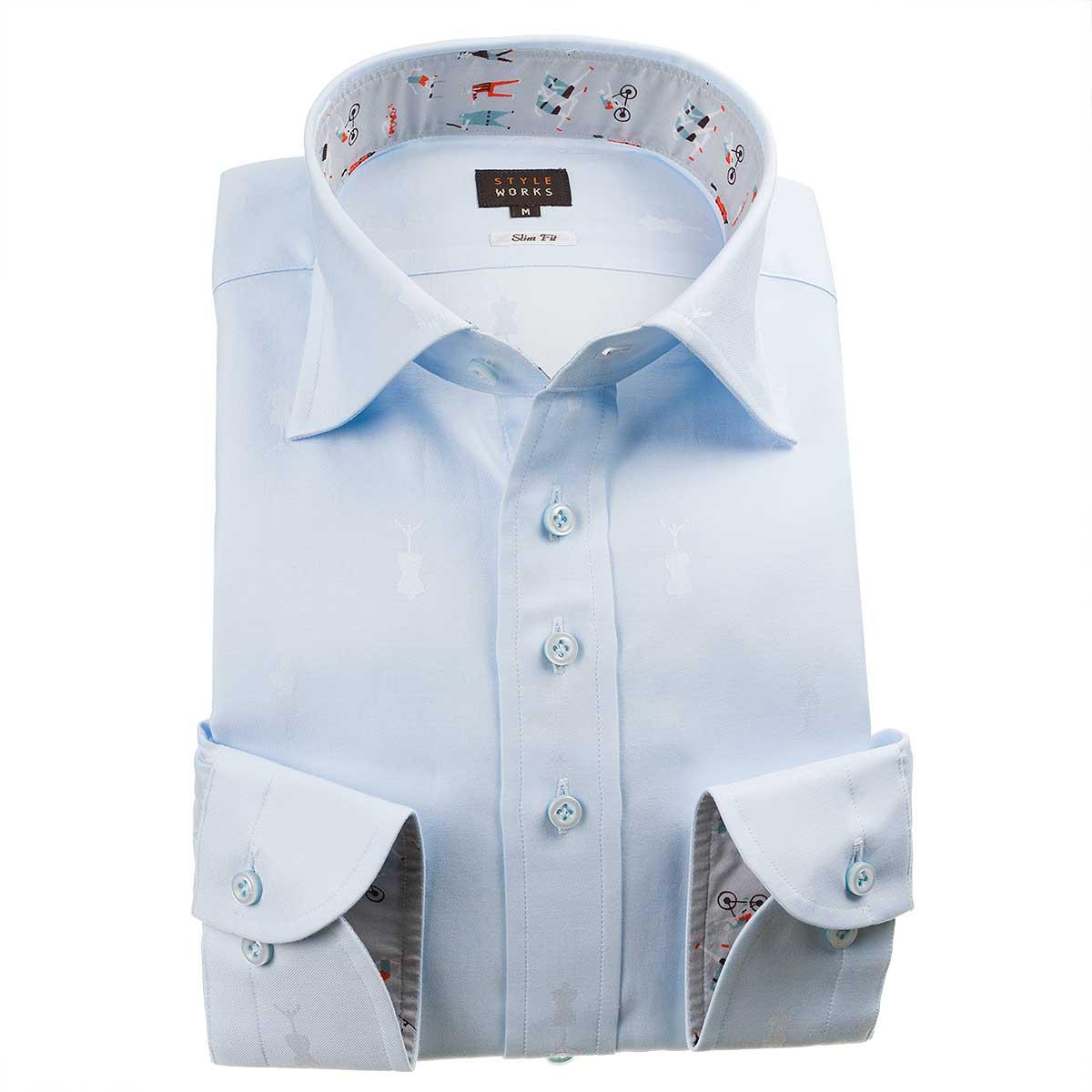 ドレスシャツ ワイシャツ シャツ メンズ 国産 長袖 綿100% スリムフィット ワイドカラー スカイブルー ジャガード織柄 トルソー型ドット 1912【Sサイズ・裄丈81cm】