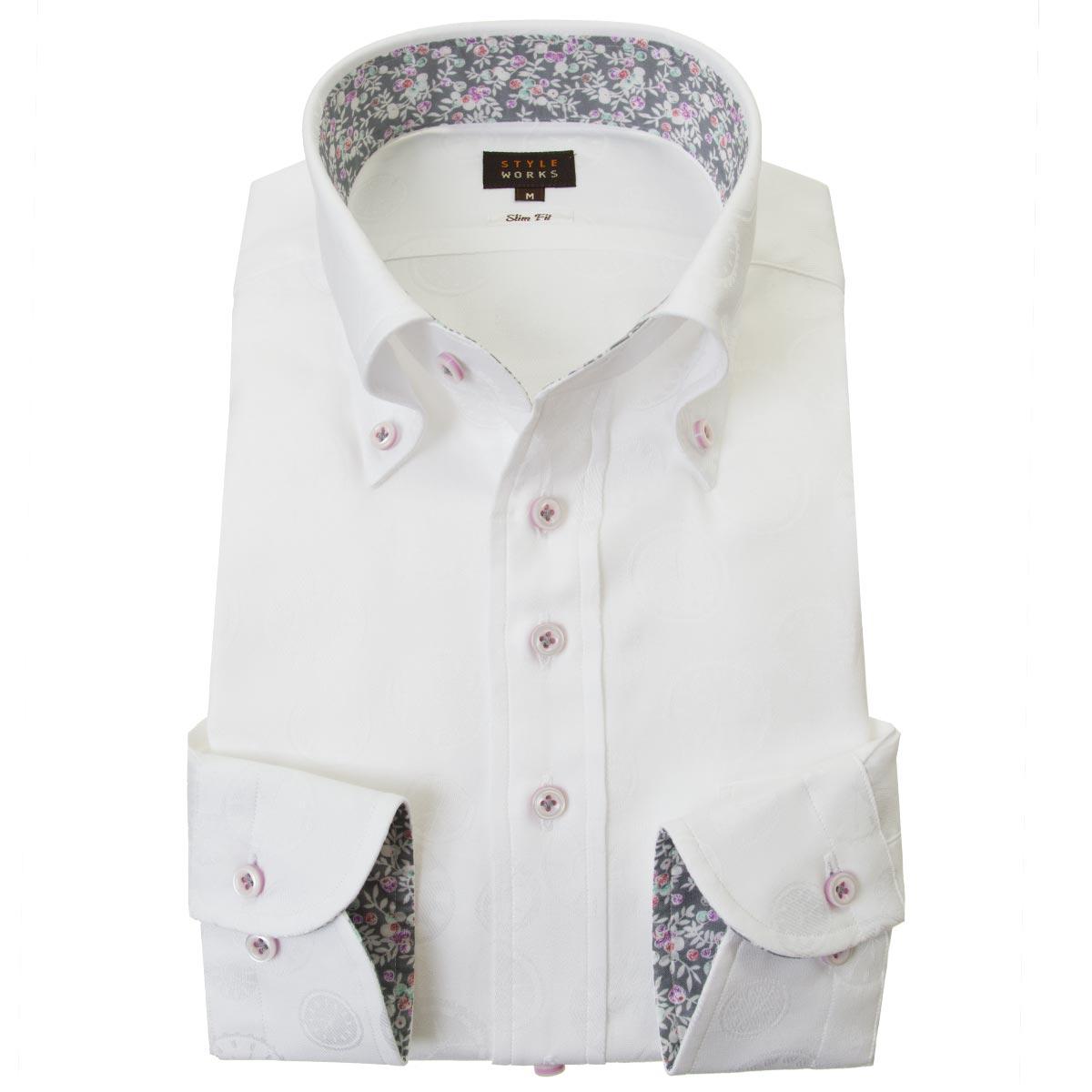 ドレスシャツ ワイシャツ シャツ メンズ 国産 長袖 スリムフィット ボタンダウン ホワイト ジャガード 時計デザインドット柄 2001 【Sサイズ・裄丈81cm】