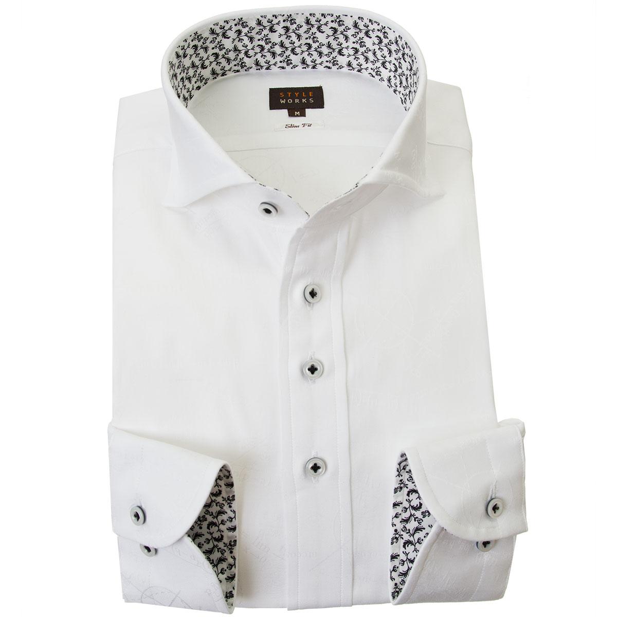 ドレスシャツ ワイシャツ シャツ メンズ 国産 長袖 綿100% スリムフィット カッタウェイワイド ホワイト ジャガード織柄 数式 方程式 2001 【Sサイズ・裄丈81cm】