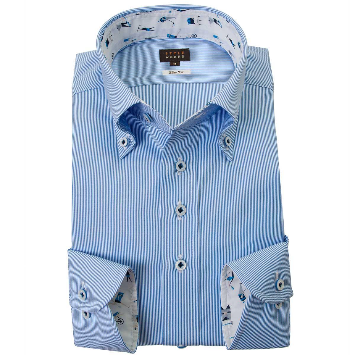 ドレスシャツ ワイシャツ シャツ メンズ 国産 長袖 綿100% スリムフィット ボタンダウン ブルーヘアラインストライプ 2001 【Sサイズ・裄丈81cm】