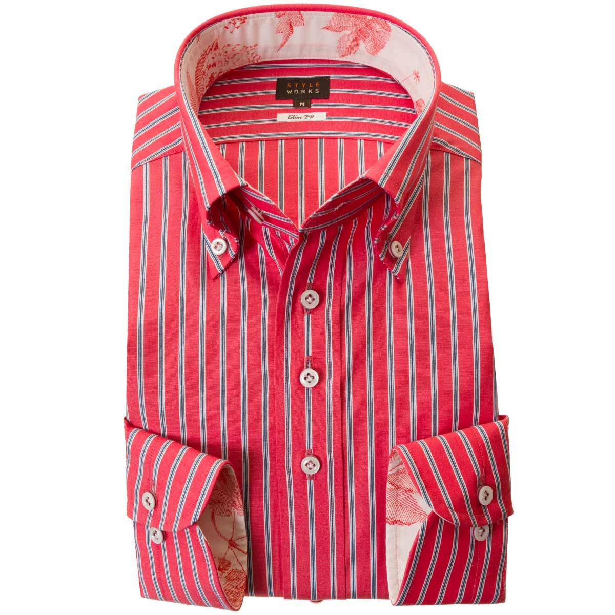 ドレスシャツ ワイシャツ シャツ メンズ 国産 長袖 綿100% ブロードクロス スリムフィット 胸ポケット無 ボタンダウン レッドストライプ オルタネイト 2002