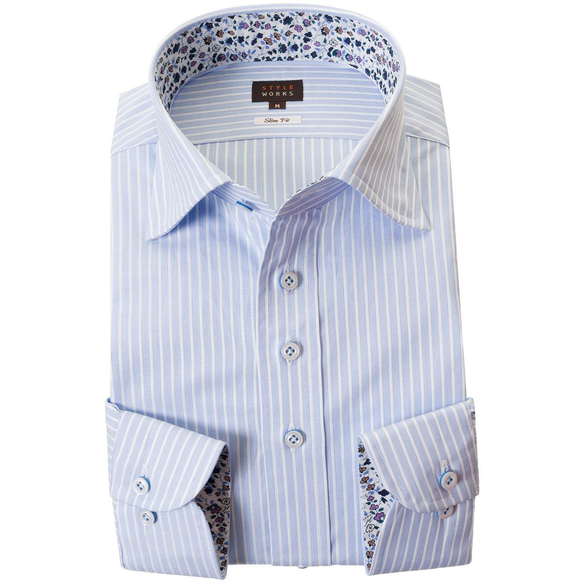 ドレスシャツ ワイシャツ シャツ メンズ 国産 綿100%長袖 スリムフィット ボタンダウン 胸ポケット無 スカイブルーオルタネイトストライプ 2002