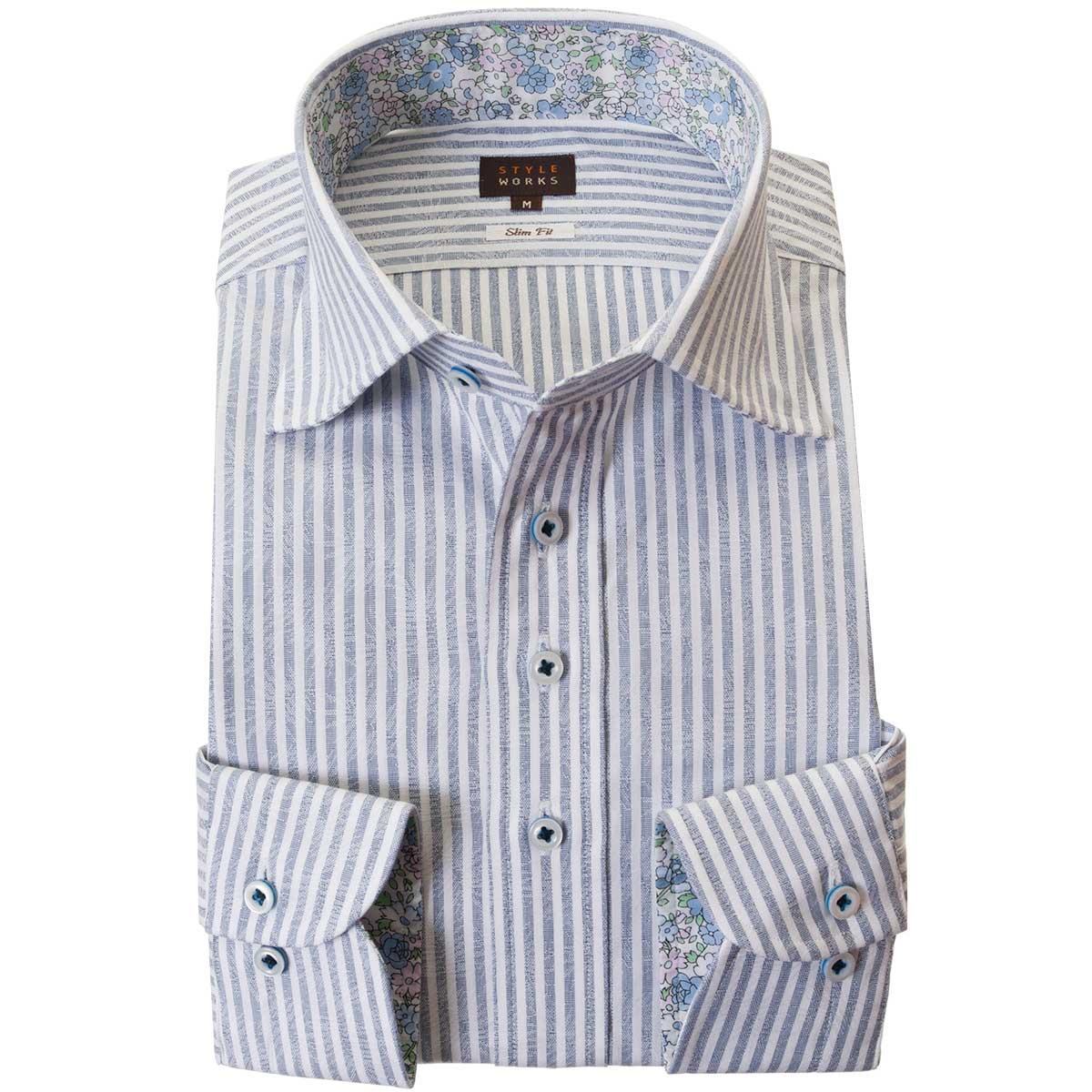 ドレスシャツ ワイシャツ シャツ メンズ 国産 長袖 綿100% スリムフィット 胸ポケット無 ワイドカラー ブルーロンドンストライプ&ジャガード織柄リーフ