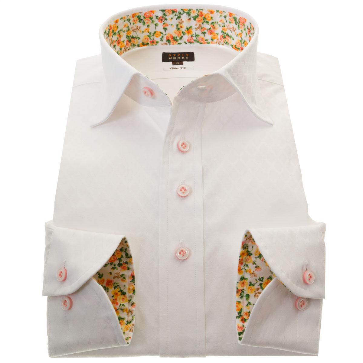 国産長袖ドレスシャツ 綿100 スリムフィット ワイドカラー ホワイト 白 ジャガード織ダイアチェック ミニドットメンズ