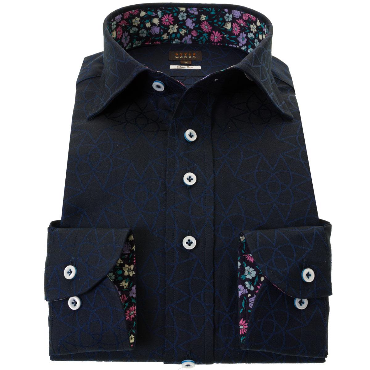 国産長袖綿100%ドレスシャツ スリムフィット ワイドカラー ダークネイビー ジャガード織柄 幾何柄 メンズ