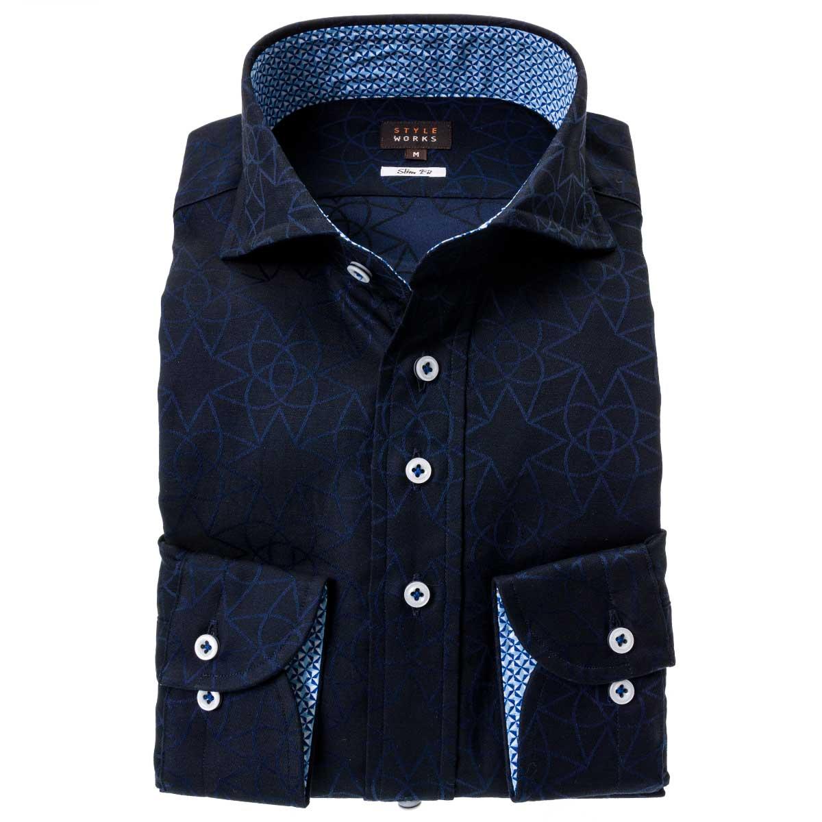 価格交渉OK送料無料 クールな幾何柄のジャガードシャツ 国産長袖綿100%ドレスシャツ スリムフィット カッタウェイワイドカラー 販売 2109_rwd ジャガード織柄 幾何柄 ダークネイビー