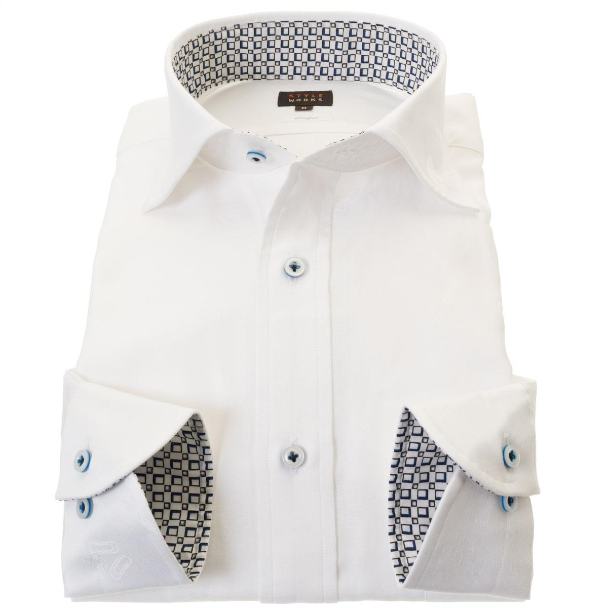 国産長袖綿100%ドレスシャツ コンフォート ワイドカラー ホワイト ジャガード織ドット柄 文房具 ステーショナリー メンズ