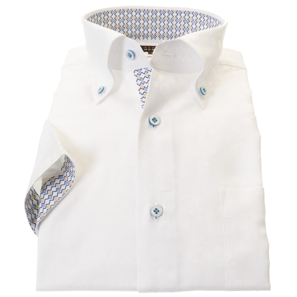 国産半袖ドレスシャツ 綿100% スリムフィット ボタンダウン ホワイト ジャガード織 幾何柄 化学式 胞子柄メンズ 【DEAL】