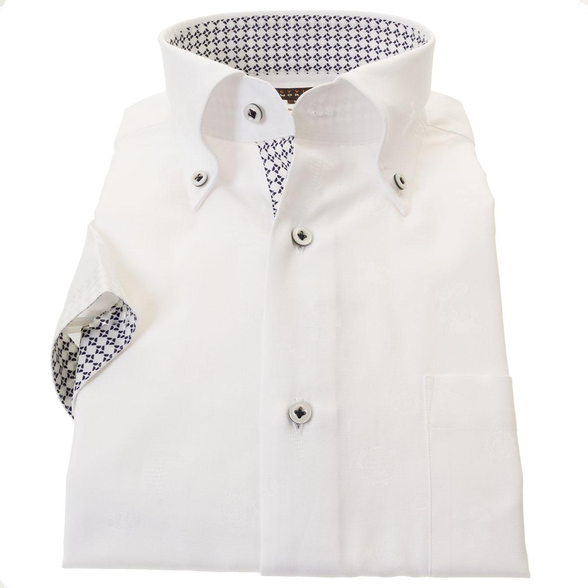 国産半袖ドレスシャツ 綿100% スリムフィット ボタンダウン ホワイト ジャガード織 海モチーフドット柄 碇 ヨット 浮き輪メンズ 【DEAL】