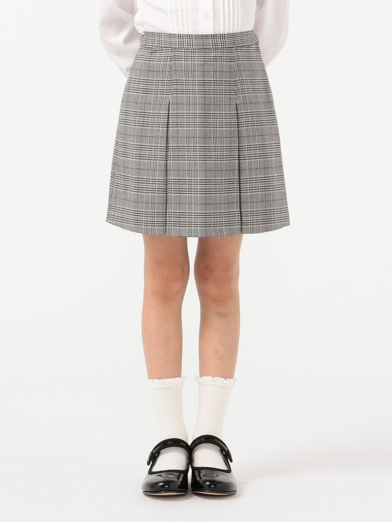 SHIPS KIDS SHIPSKIDS:グレンチェックスカート(100~130cm) シップス スカート ロングスカート グレー【送料無料】