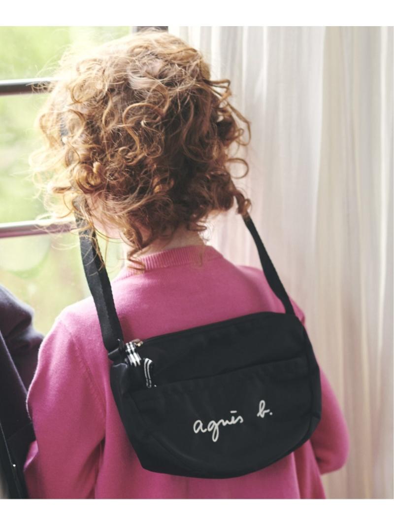 agnes b. キッズ バッグ アニエスベー ENFANT K 爆安 GL11 キッズバッグ ブラック BAG 40%OFFの激安セール ロゴポシェット 送料無料 E 先行予約
