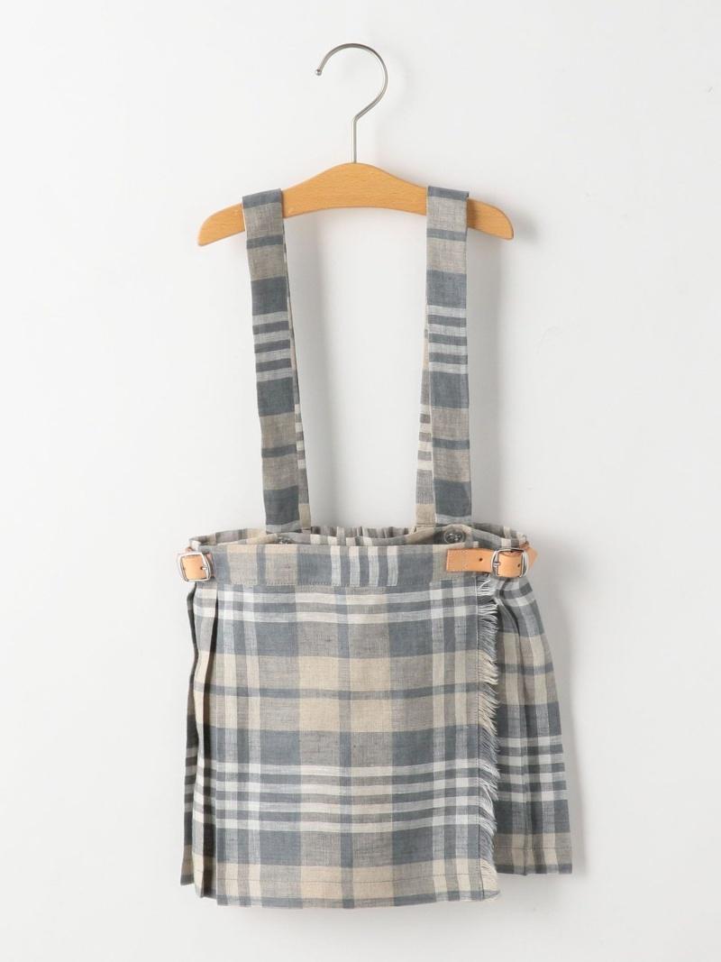 SHIPS KIDS O'NEILofDUBLIN:リネンチェックプリーツスカート(90cm) シップス スカート ロングスカート ベージュ【送料無料】
