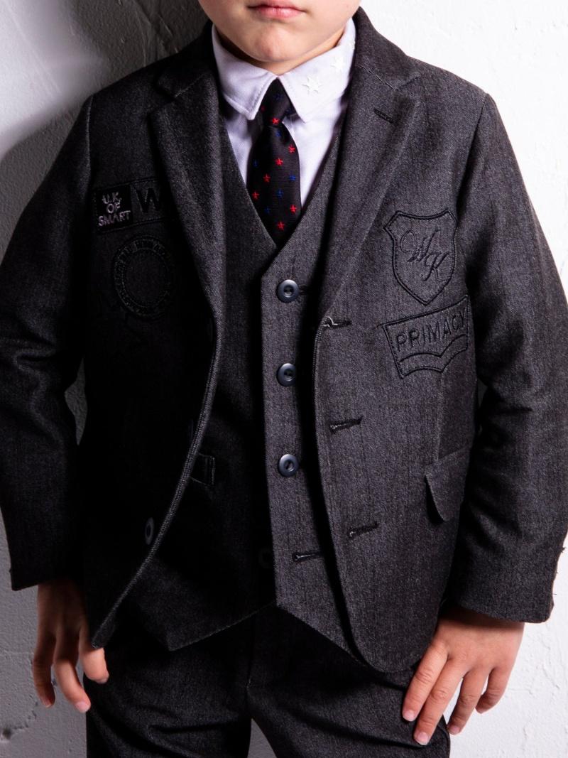WASK ワッペン付デニム調テーラードジャケット(100cm) ベベ オンライン ストア ビジネス/フォーマル スーツ グレー【送料無料】