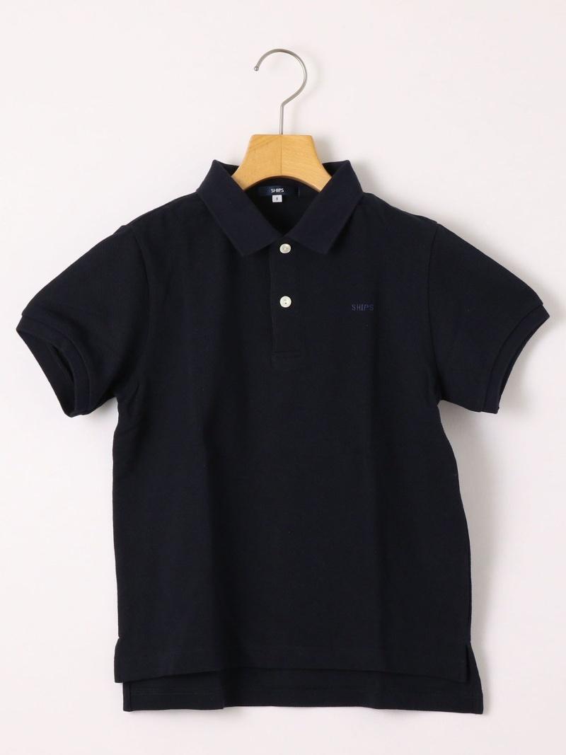 SHIPS KIDS SHIPSKIDS:半袖鹿の子ポロシャツ(145~160cm) シップス カットソー Tシャツ ネイビー ホワイト【送料無料】