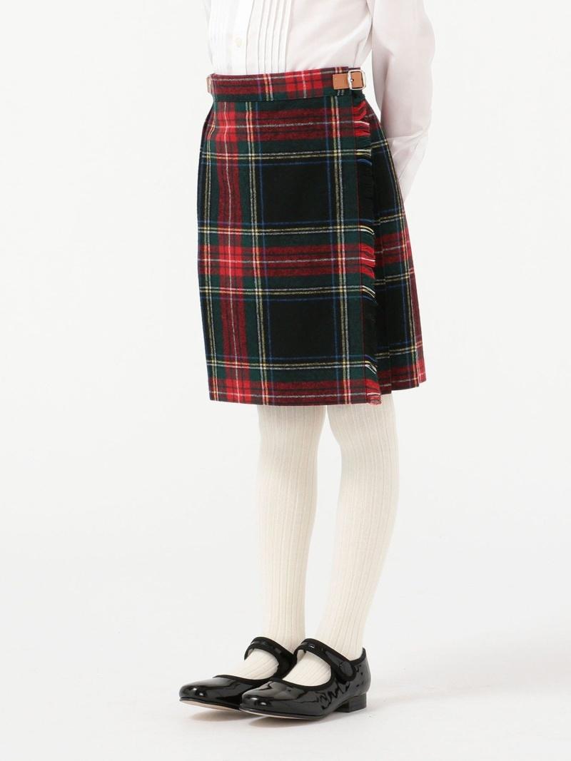 SHIPS KIDS O'NEILofDUBLIN:ウールブラックスチュワートキルトスカート(100~140cm) シップス スカート キッズスカート ブラック【送料無料】