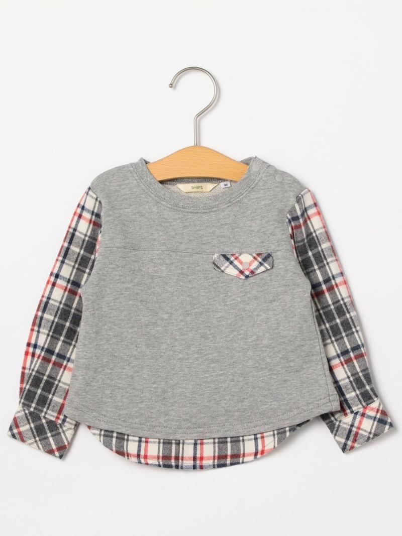 SHIPS KIDS SHIPSKIDS:スウェット×シャツコンビトップス(80~90cm) シップス カットソー Tシャツ グレー ネイビー【送料無料】