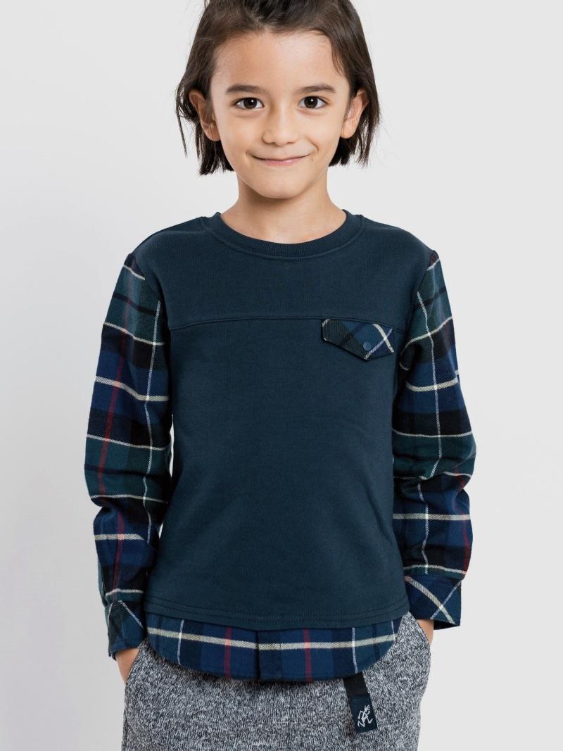SHIPS KIDS SHIPSKIDS:スウェット×シャツコンビトップス(100~130cm) シップス カットソー Tシャツ ネイビー グレー【送料無料】