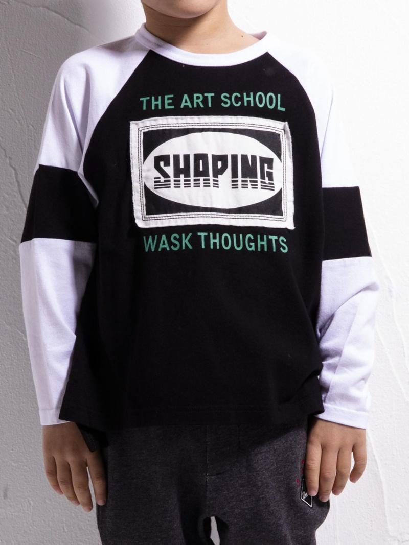 WASK ラグランビッグTシャツ(110cm~130cm) ベベ オンライン ストア カットソー Tシャツ ブラック ネイビー【送料無料】