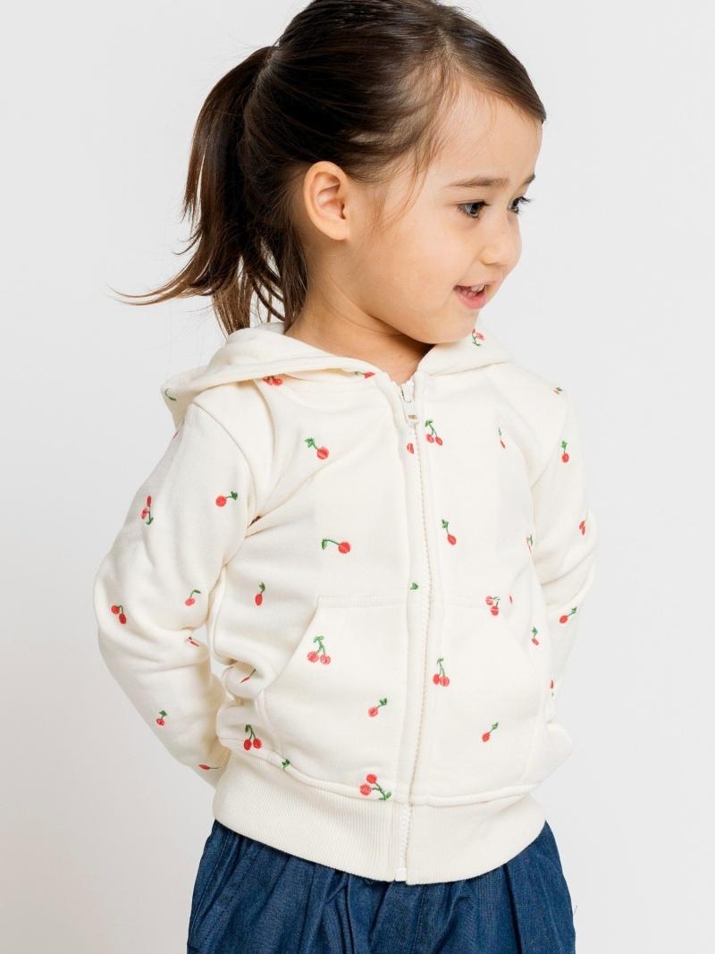 SHIPS KIDS SHIPSKIDS:チェリー刺繍パーカー(80~90cm) シップス カットソー Tシャツ ブラウン ネイビー【送料無料】
