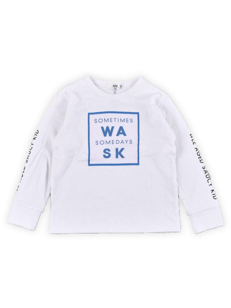 WASK ロゴ星プリント接結Tシャツ(110cm~130cm) ベベ オンライン ストア カットソー Tシャツ ホワイト ブラック【送料無料】