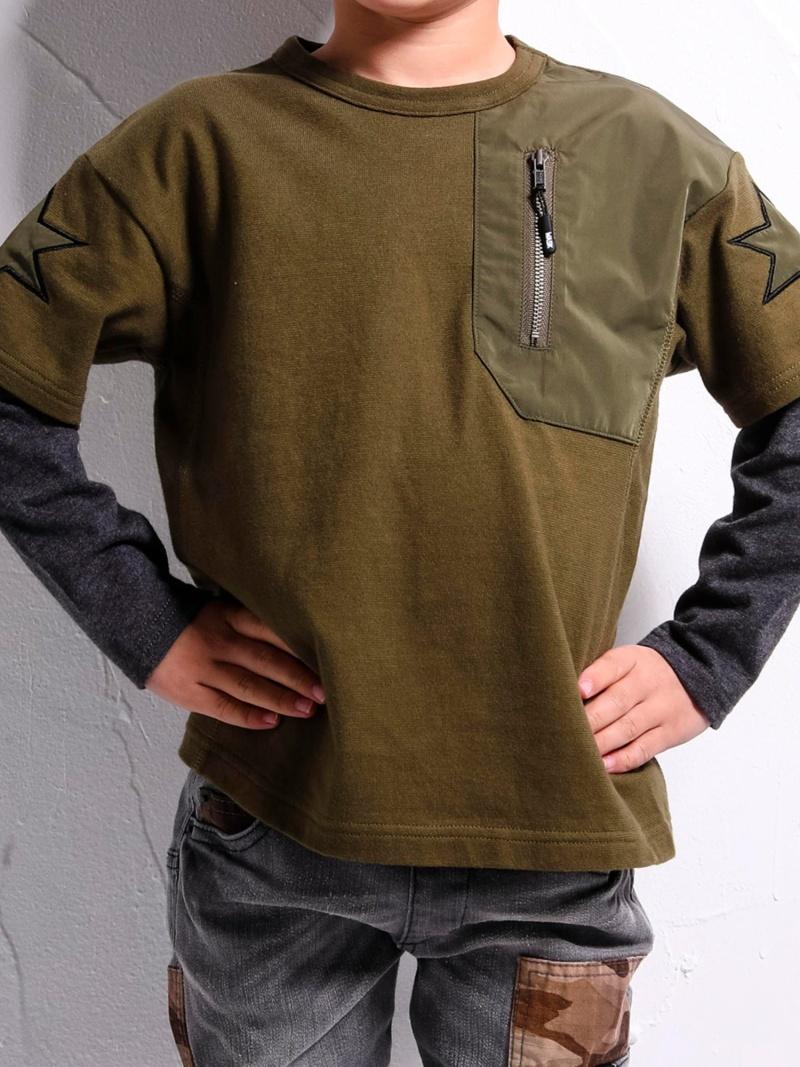 WASK レイヤード風天竺ワイドTシャツ(110cm~130cm) ベベ オンライン ストア カットソー Tシャツ グリーン グレー【送料無料】