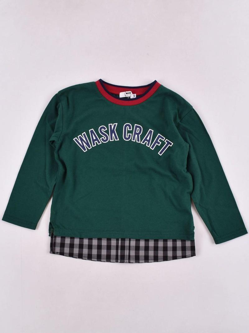 WASK 裾チェック天竺Tシャツ(140cm~160cm) ベベ オンライン ストア カットソー Tシャツ グリーン ネイビー【送料無料】