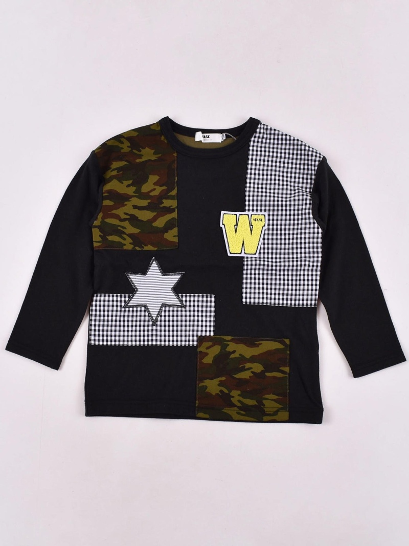 WASK 天竺パッチワークTシャツ(110cm~130cm) ベベ オンライン ストア カットソー Tシャツ ブラック【送料無料】