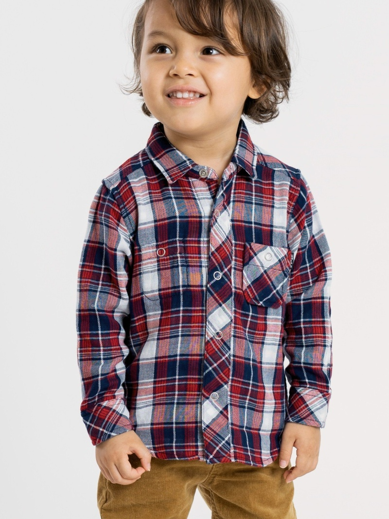 SHIPS KIDS SHIPSKIDS:リバーシブルチェックシャツ(80~90cm) シップス カットソー Tシャツ ネイビー レッド【送料無料】