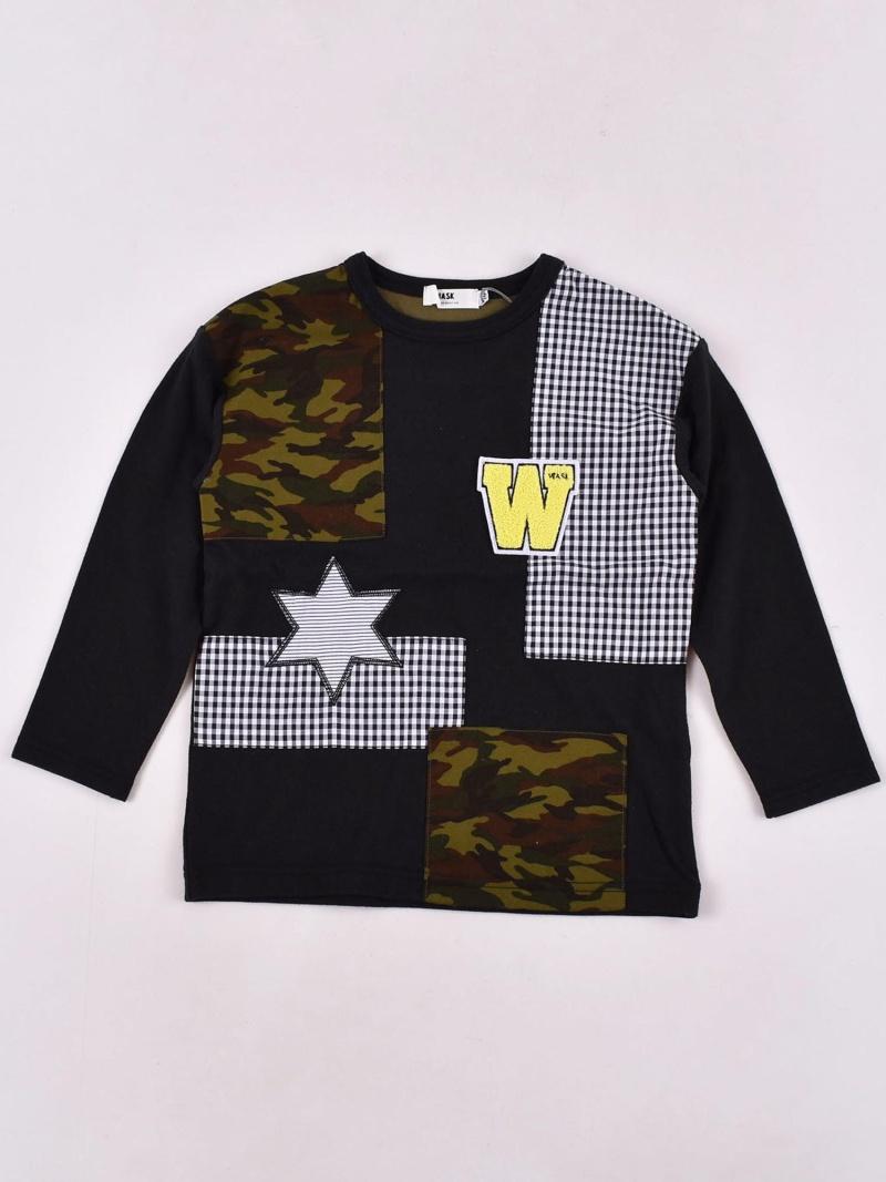 WASK 天竺パッチワークTシャツ(140cm~160cm) ベベ オンライン ストア カットソー Tシャツ ブラック【送料無料】
