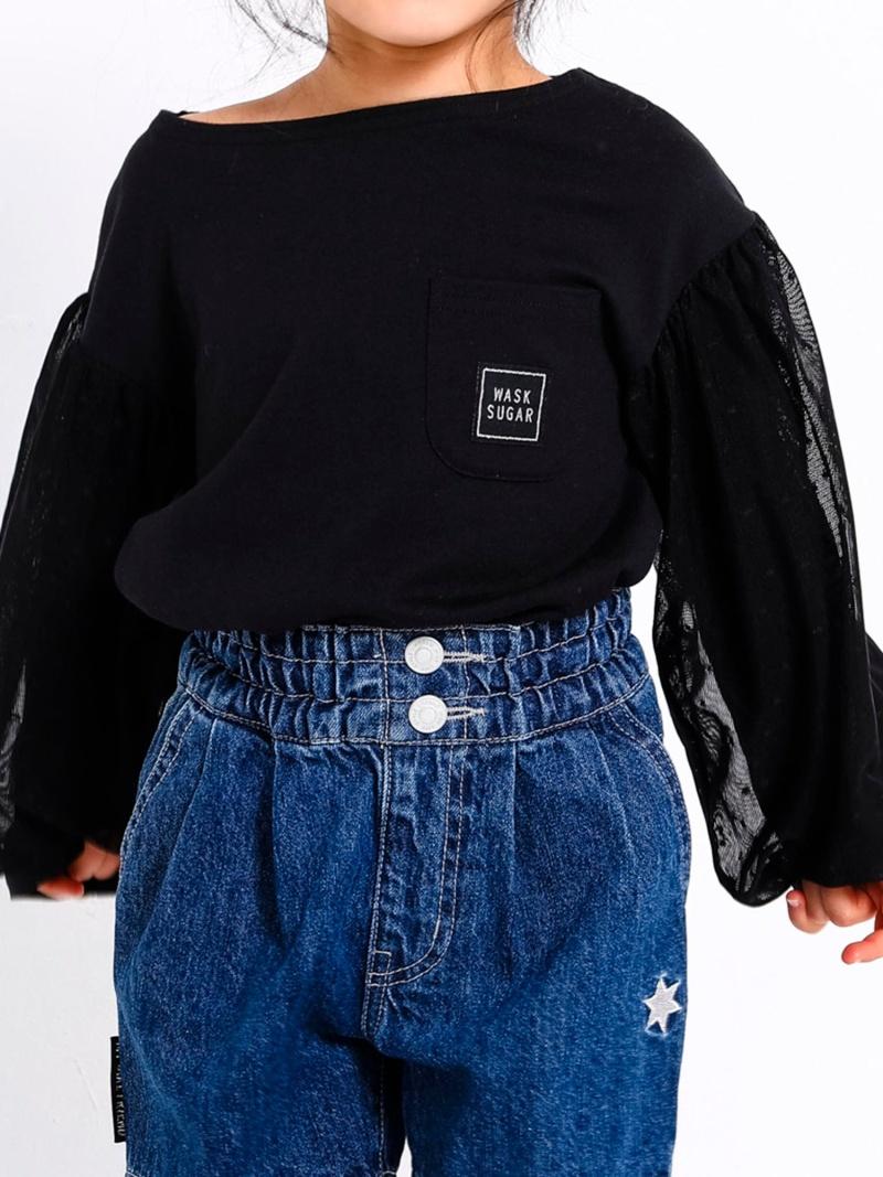 WASK 袖チュール天竺ワイドTシャツ(110cm~130cm) ベベ オンライン ストア カットソー Tシャツ ブラック ホワイト【送料無料】