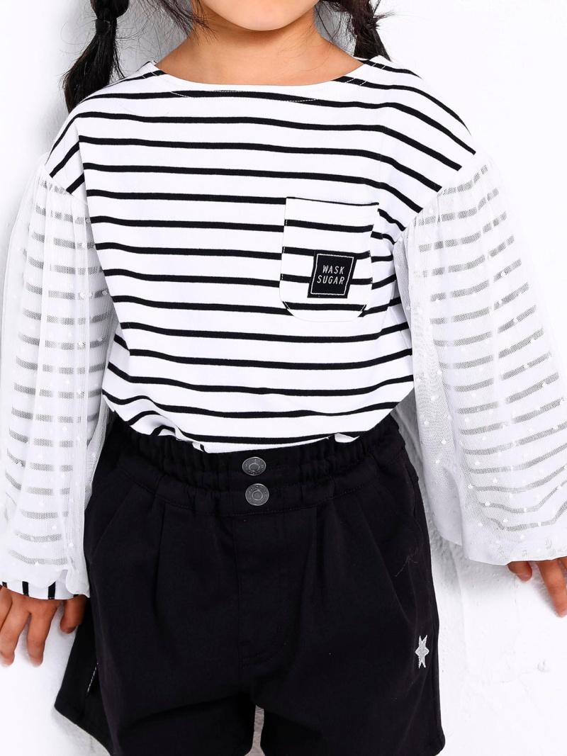 WASK 袖チュール天竺ワイドTシャツ(140cm) ベベ オンライン ストア カットソー Tシャツ ホワイト ブラック【送料無料】
