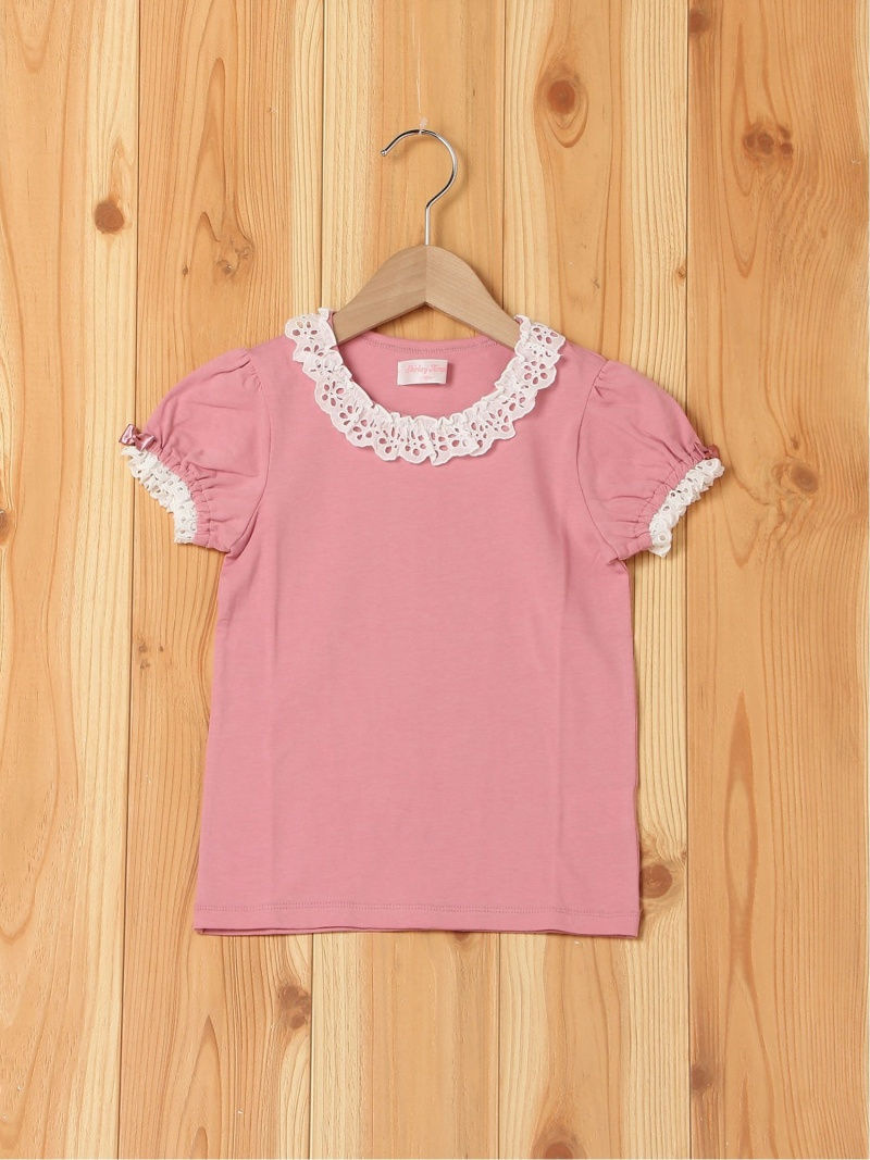 ShirleyTemple レース付きパフTシャツ シャーリーテンプル カットソー キッズカットソー ピンク レッド【送料無料】