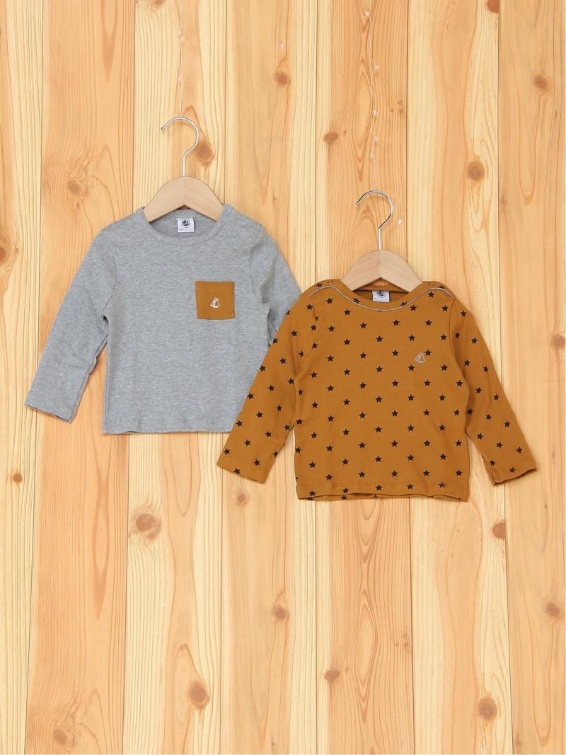 PETIT BATEAU (K)長袖Tシャツ2枚組 プチバトー カットソー キッズカットソー【送料無料】