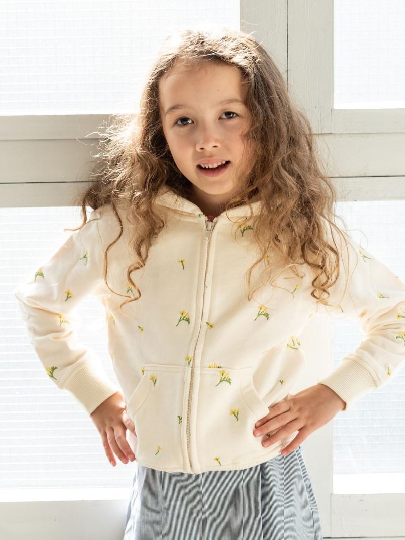 SHIPS KIDS SHIPSKIDS:フラワー刺繍パーカー(100~130cm) シップス カットソー Tシャツ ブラウン ピンク【送料無料】