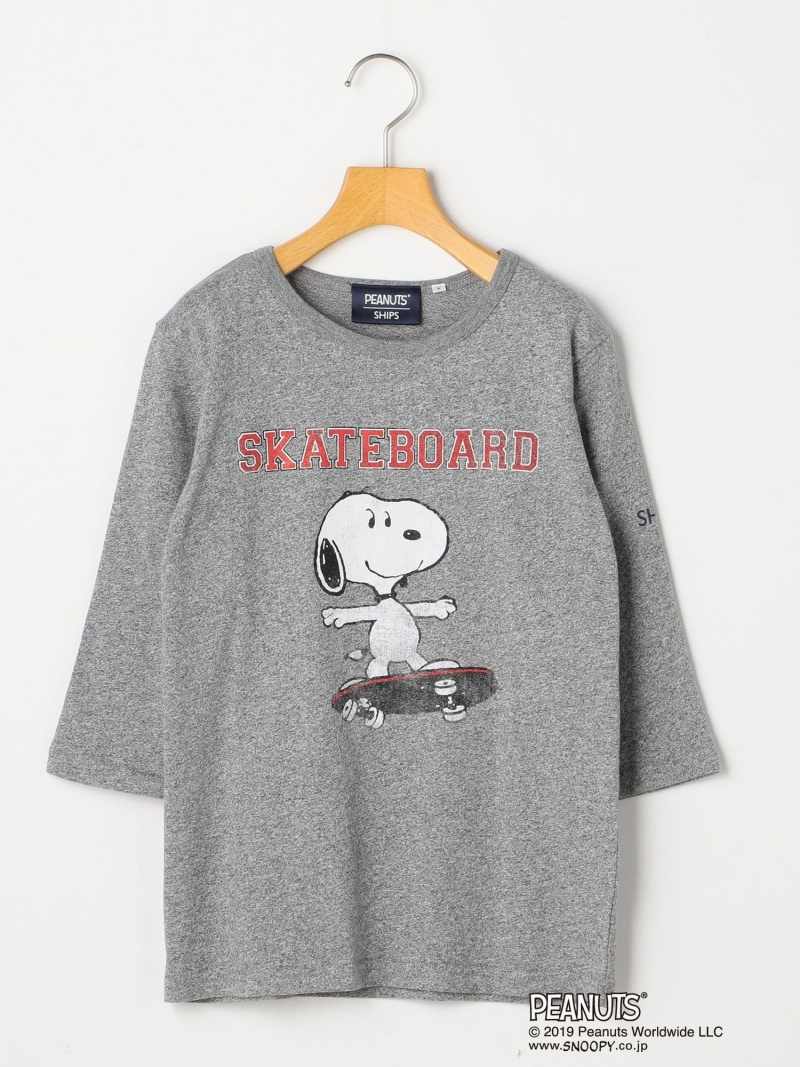 SHIPS KIDS SHIPSKIDS:スヌーピー7分袖TEE(145~160cm) シップス カットソー Tシャツ グレー ホワイト グリーン【送料無料】